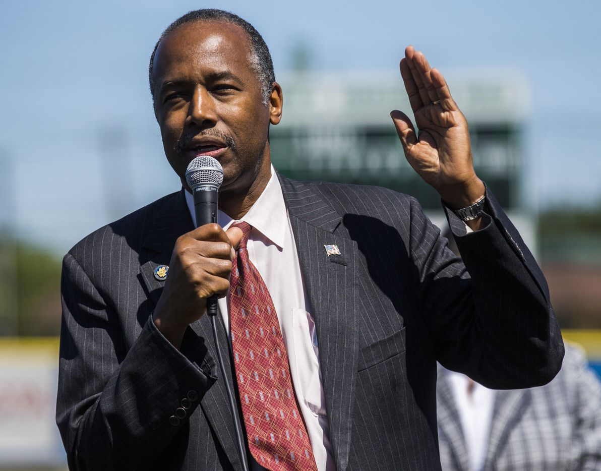 U.S. Secretary of Housing and Urban Development Ben Carson speaks during a tour of the Dallas Housing Authority's Major League Baseball Youth Academy as part of his Listening Tour in Dallas. (Ashley Landis/The Dallas Morning News)