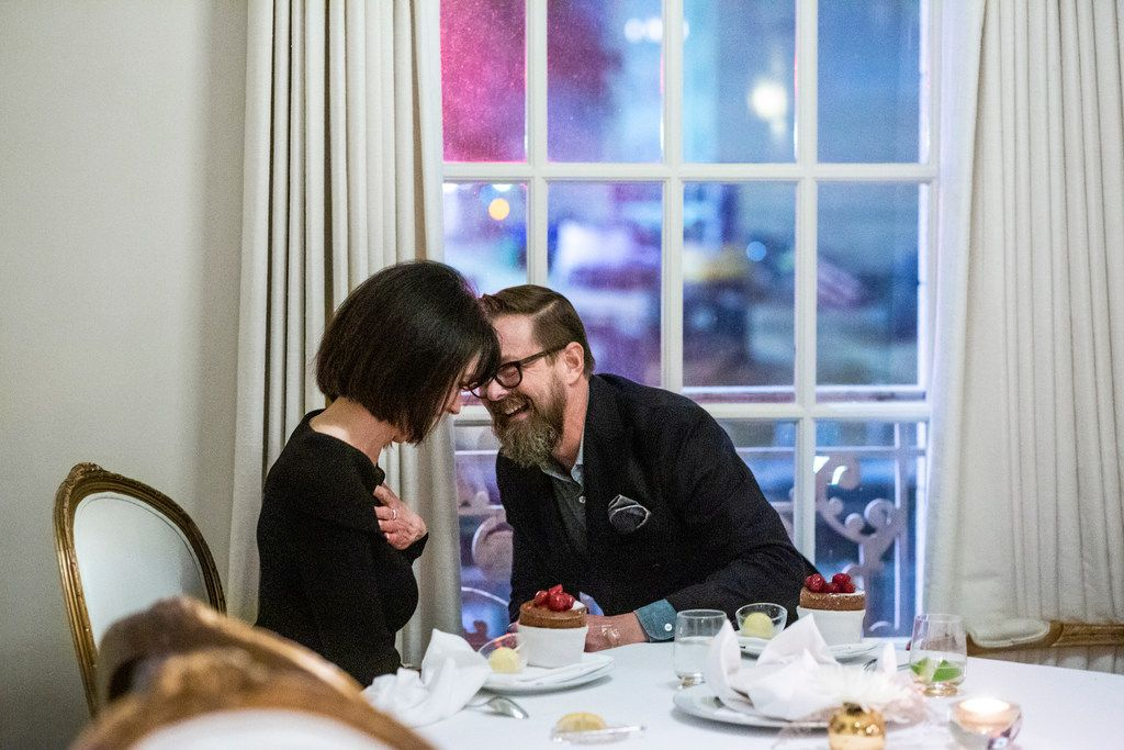 Troy Wierman pops the question to Michlind Wilson over chocolate soufflés.