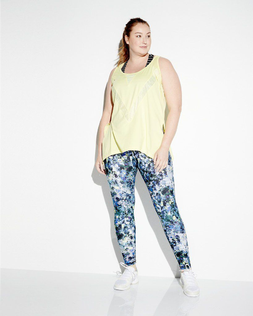 Nanette Lepore Play Plus solid workout tank and the Nanette Lepore Play Plus wide-waist floral-print leggings. For launch of Neiman Marcus Last Call new women's plus-size departments in five Last Call stores on Feb. 18, 2017