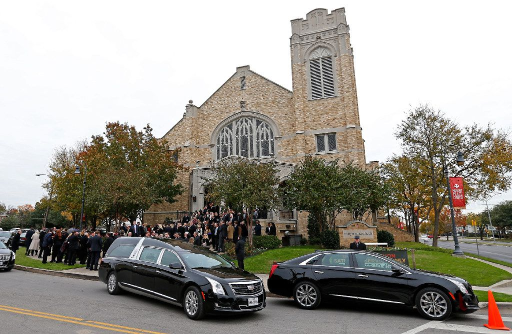 A hearse carring a casket of Brian Loncar leaves the Munger Place Church following his funeral in Dallas, Friday, Dec. 9, 2016. The late Dallas lawyer Brian Loncar died on Sunday, two days after the funeral for his 16-year-old daughter Grace Loncar, who committed suicide late last month. (Jae S. Lee/The Dallas Morning News)