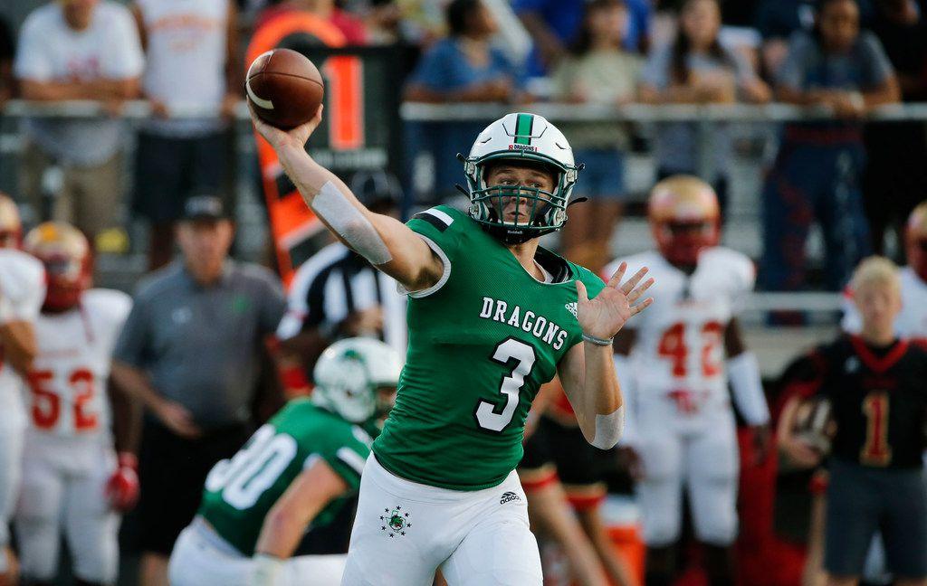 Southlake Carroll quarterback Quinn Ewers (3) throws a pass against South Grand Prairie during the first half of their high school football game in Southlake Texas on August 30, 2019.