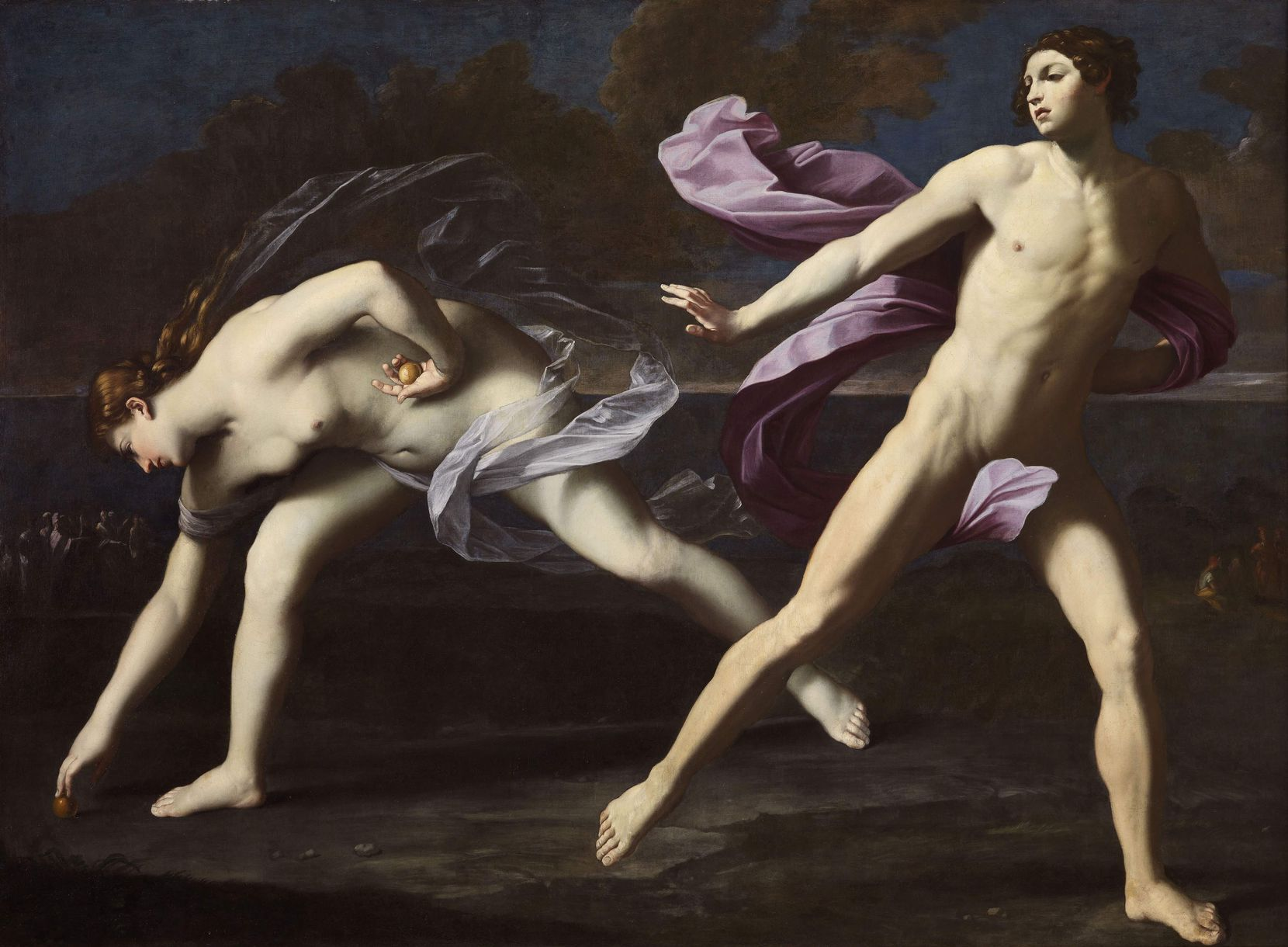 "Bolognese painter Guido Reni's ""Atalanta and Hippomenes"" represents the end of a famous foot race recounted in Ovid's ""Metamorphoses."""