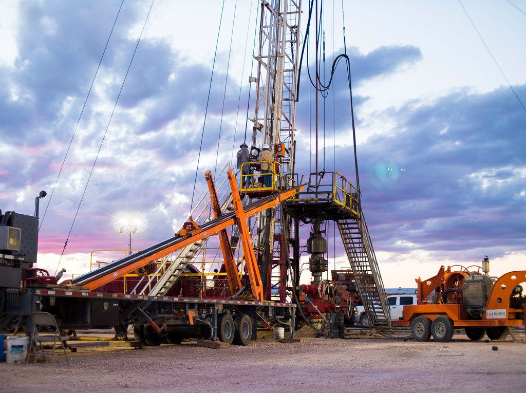 A 24-hour well servicing rig from Basic Energy Services operates in the Permian Basin.