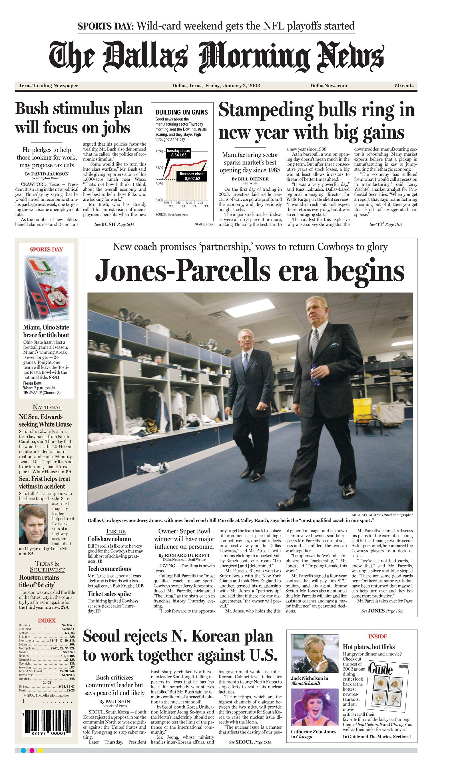 Front page Jan. 3, 2003. 'Jones- Parcells era begins.'
