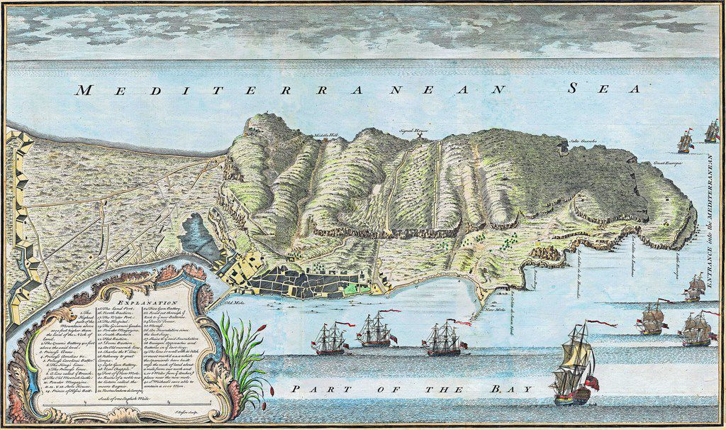 A 1738 map of Gibraltar. From Gibraltar, by Roy Adkins and Lesley Adkins.
