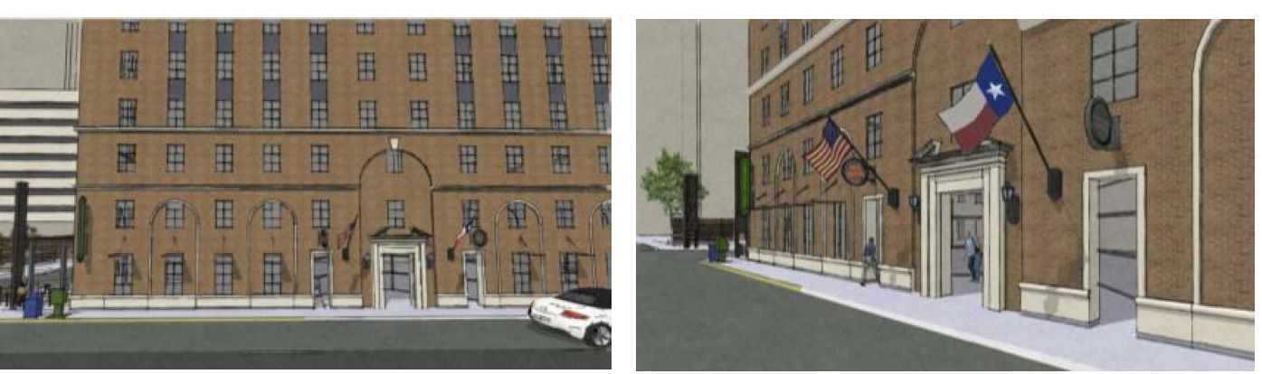 Renovation plans for the Hartford Building include restoration of the brick and stone exterior.
