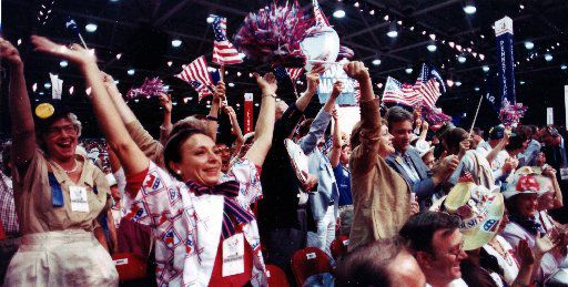 Delegates cheer at the Republican National Convention in Dallas.