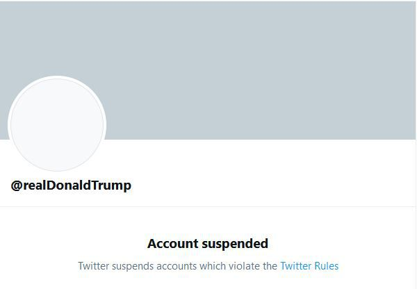 Twitter permanently suspended President Donald Trump's account @realDonaldTrump.