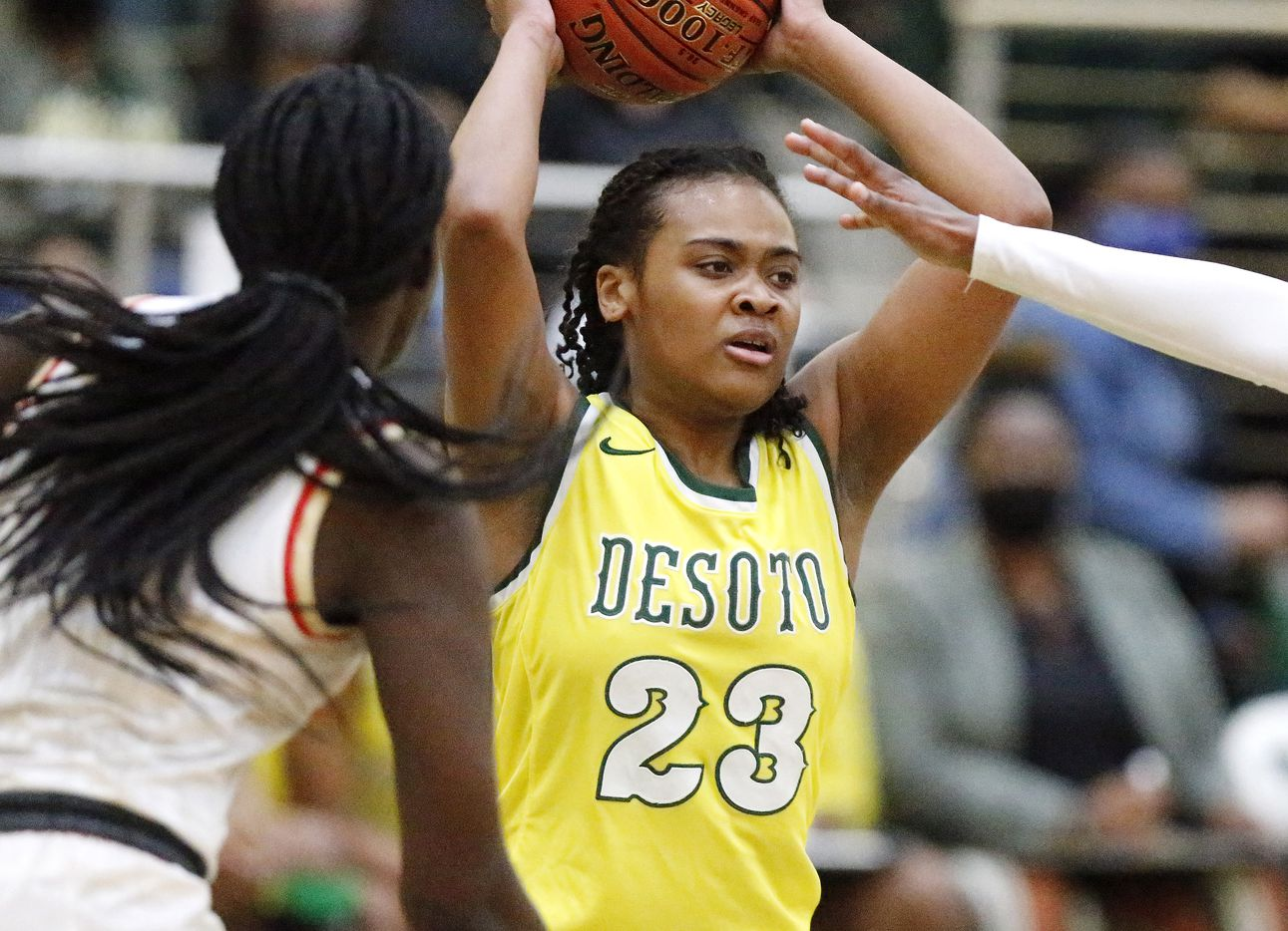 DeSoto High School guard Kendall Brown (23) looks to pass during the second half as South Grand Prairie High School played DeSoto High School in a class 6A semifinal girls basketball game played at Prosper High School on Saturday , March 6, 2021.  (Stewart F. House/Special Contributor)