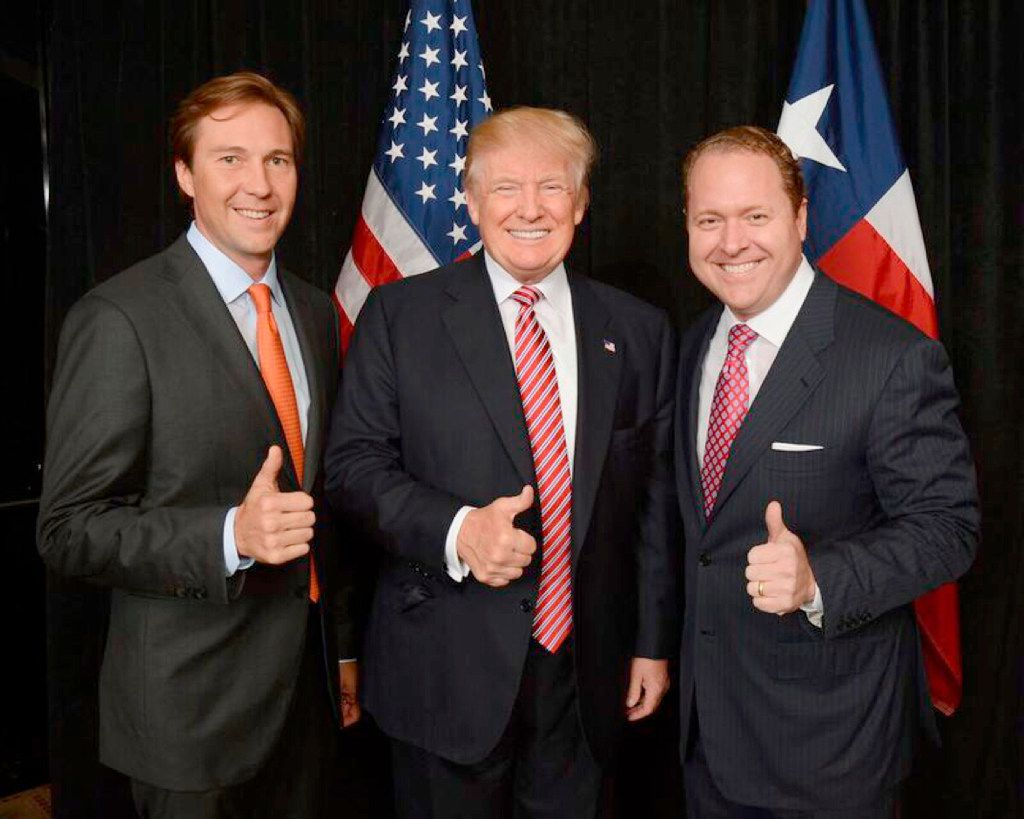 Tommy Hicks Jr. (left), Donald Trump and Gentry Beach.  Hicks and Beach, two Dallas businessmen, were credited with raising millions for Trump's presidential campaign.