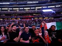 Elwin Soto of Baja California, Mexico and Katsunari Takayama of Osaka, Japan is introduced before a large crowd watching the WBO World Light-Flyweight title at AT&T Stadium in Arlington, Saturday, May 8, 2021.They were waiting for the Canelo Alvarez-Billy Joe Saunders fight.