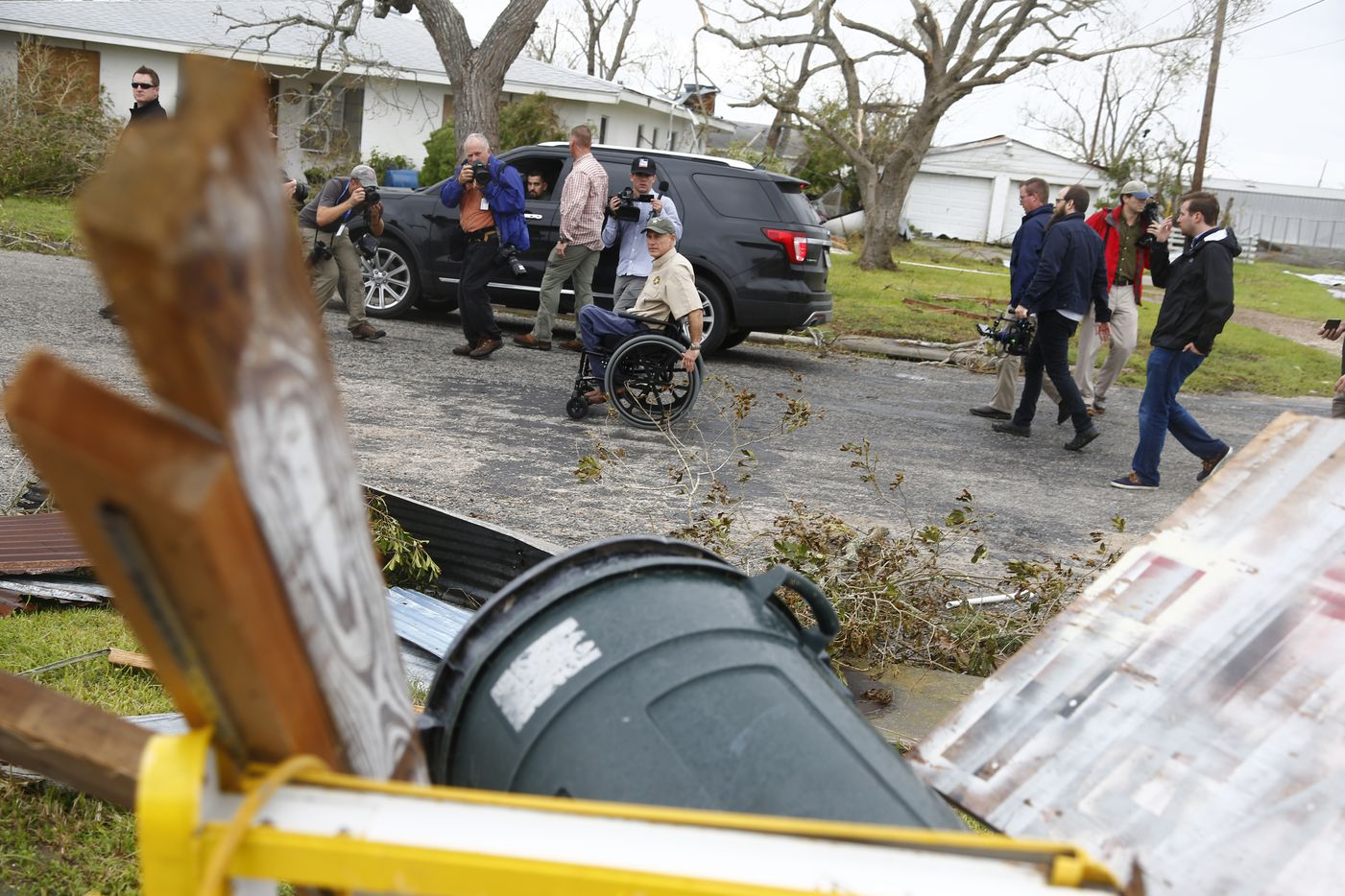 Texas Gov. Greg Abbott is tours Rockport with the media after Hurricane Harvey in Rockport, Texas on Aug. 28, 2017.