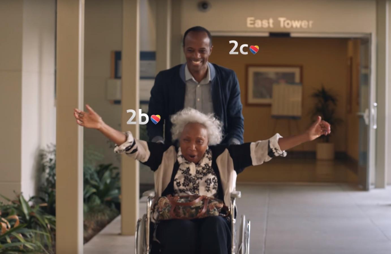 "Screen shot of Southwest Airlines' ""Grandma"" ad."