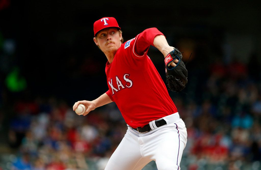 Texas Rangers relief pitcher Peter Fairbanks (46) pitches against the Oakland Athletics during the fifth inning of a baseball game, Sunday, June 9, 2019, in Arlington, Texas. (AP Photo/Michael Ainsworth)