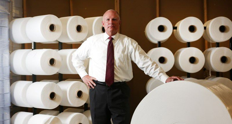 Mike Bowen, a top official at Prestige Ameritech, the nation's biggest surgical mask maker, in a 2017 photo.