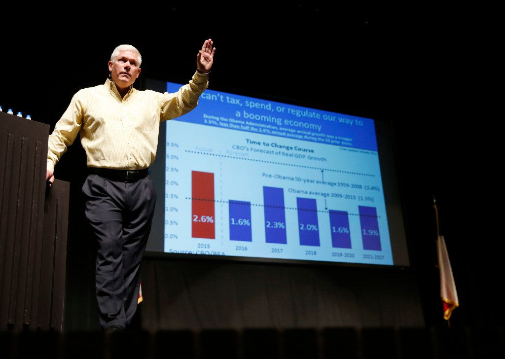 Rep. Pete Sessions, R-Dallas, speaks to the crowd before opening up the meeting for questions in the auditorium of Richardson High School in Richardson on Saturday, March 18, 2017. (Vernon Bryant/The Dallas Morning News)