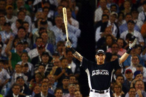 NEW YORK - JULY 14:  Josh Hamilton of the Texas Rangers celebrates during the 2008 MLB All-Star State Farm Home Run Derby at Yankee Stadium on July 14, 2008 in the Bronx borough of New York City.  (Photo by Chris McGrath/Getty Images)