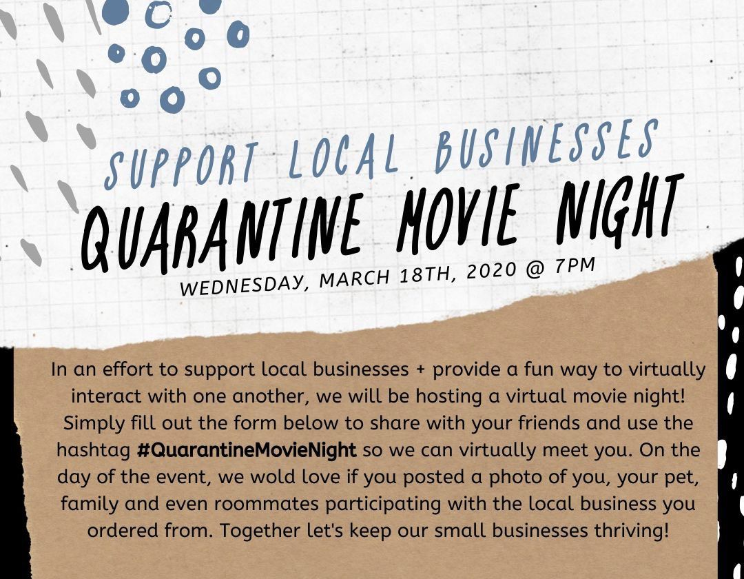 Instagram influencer Breshell West has created a Quarantine Movie Night to support local businesses amid the novel coronavirus outbreak.