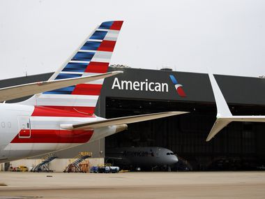 An American Airlines Boeing 737-MAX 8 winglet (right) is pictured at the maintenance facility in Dallas-Fort Worth International Airport, Wednesday, December 2, 2020. (Tom Fox/The Dallas Morning News)