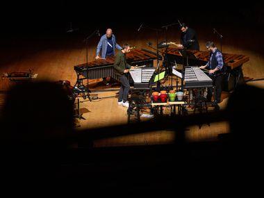 Sō Percussion performs the third part of Vijay Iyer's 'Torque' in a concert presented by the Dallas Symphony Orchestra at the Meyerson Symphony Center in Dallas on May 25. This was the group's first performance since the pandemic began last year.