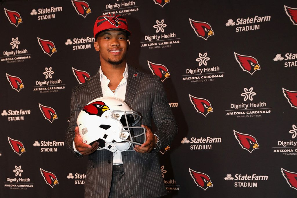 Quarterback Kyler Murray of the Arizona Cardinals during a news conference at the Dignity Health Arizona Cardinals Training Center in Tempe, Ariz., on April 26, 2019. (Christian Petersen/Getty Images/TNS) **FOR USE WITH THIS STORY ONLY**