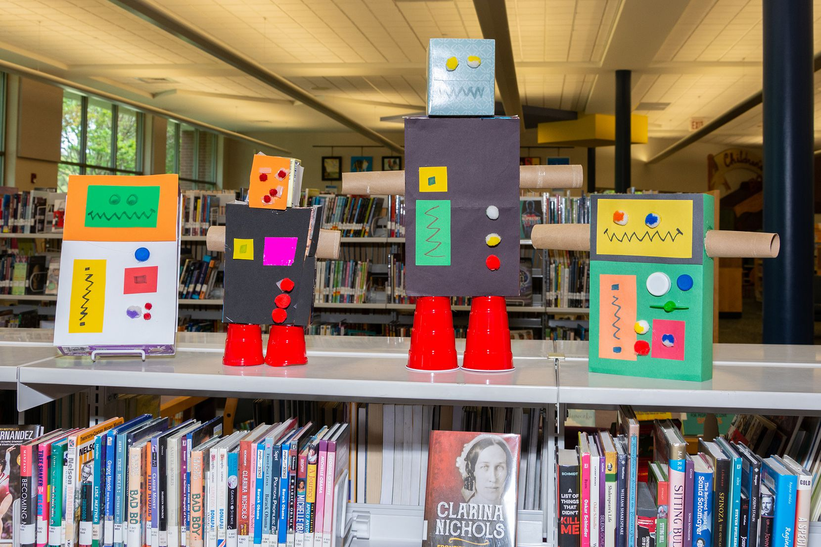 Plano Public Library librarians showed how to make a robot bank for Upcycled Engineering during a virtual program.