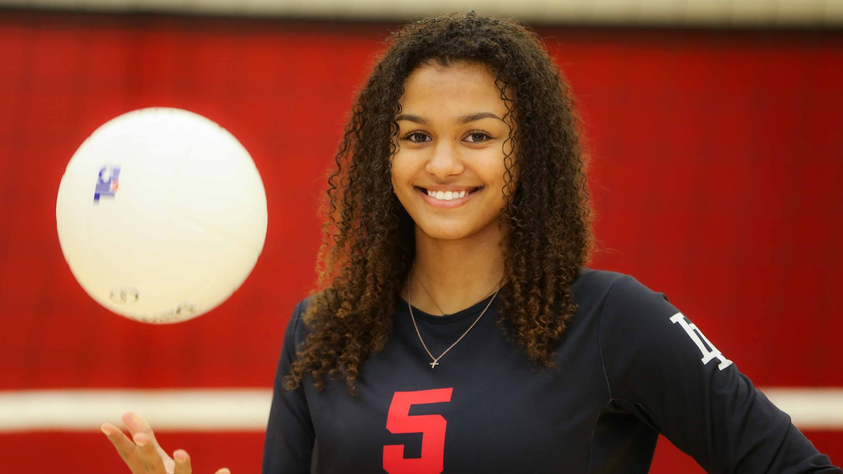 Lovejoy volleyball player Cecily Bramschreiber poses inside the LoveJoy Gym as the Player of the Year in Lucas on Tuesday, December 29, 2020. (Lola Gomez/The Dallas Morning News)
