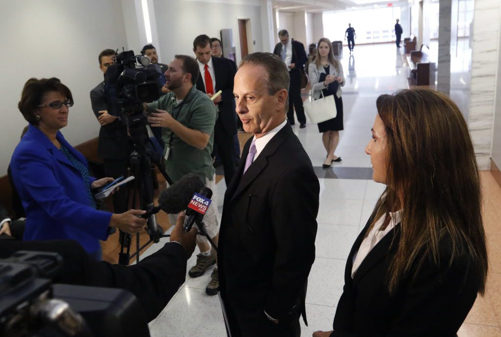 Brian Wice, one of three special prosecutors appointed to Texas Attorney General Ken Paxton's case, spoke outside the Merrill Hartman Courtroom in the Fifth Court of Appeals at the George Allen Courts Building in Dallas. On Wednesday, the Texas Court of Criminal appeals declines to reconsider their 2018 decision striking down the prosecutors' hourly fees.