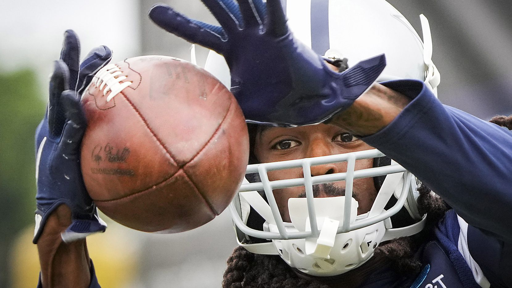 Dallas Cowboys cornerback Maurice Canady catches a ball during drill at training camp on Sunday, July 25, 2021, in Oxnard, Calif.