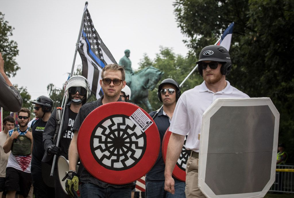 White nationalists rally at Emancipation Park in Charlottesville, Va.