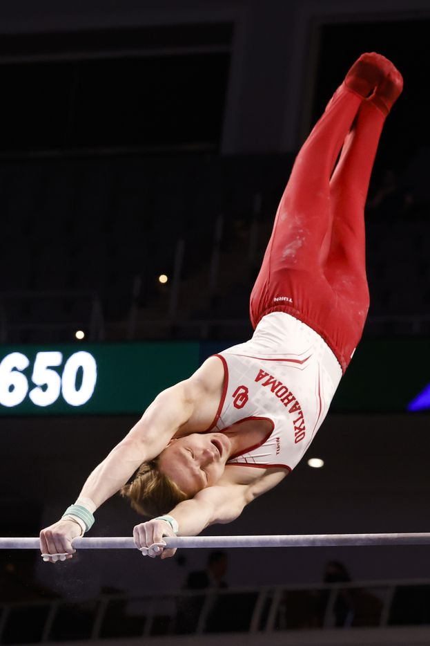 University of Oklahoma's Matt Wenske performs on the horizontal bar during Day 1 of the US gymnastics championships on Thursday, June 3, 2021, at Dickies Arena in Fort Worth. (Juan Figueroa/The Dallas Morning News)