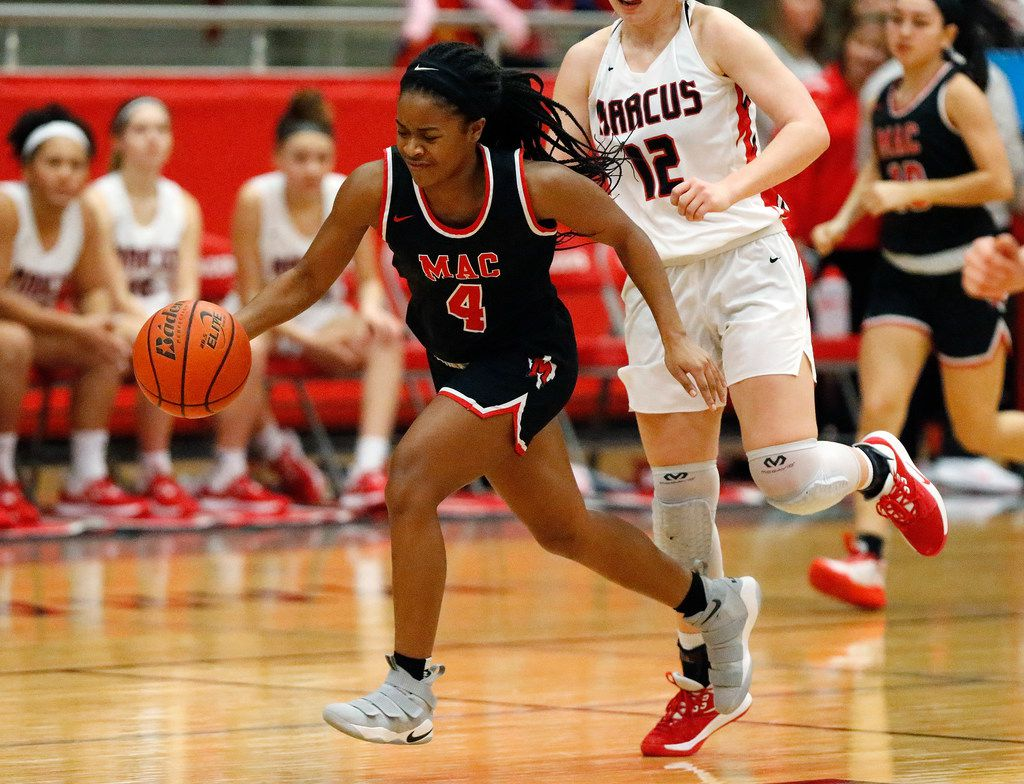 Irving MacArthur High School guard Morgan Browning (4) leads a fast break attempt during the second half as Flower Mound Marcus High School hosted Irving MacArthur High School in a girls basketball game in Flower Mound on Tuesday, January 14, 2020. (Stewart F. House/Special Contributor)