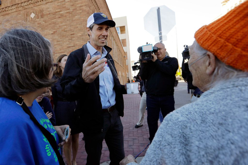 On Nov. 6, 2018, then-Rep. Beto O'Rourke, greeted voters heading to the polls after he voted in El Paso.