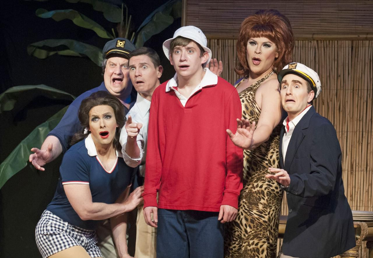 """Quarantine Cabaret"" founder Mikey Abrams has performed in a variety of Dallas productions, including playing ""Thurston Howell"" (far right) in the Uptown Players' production of ""Gilligan's Fire Island."""