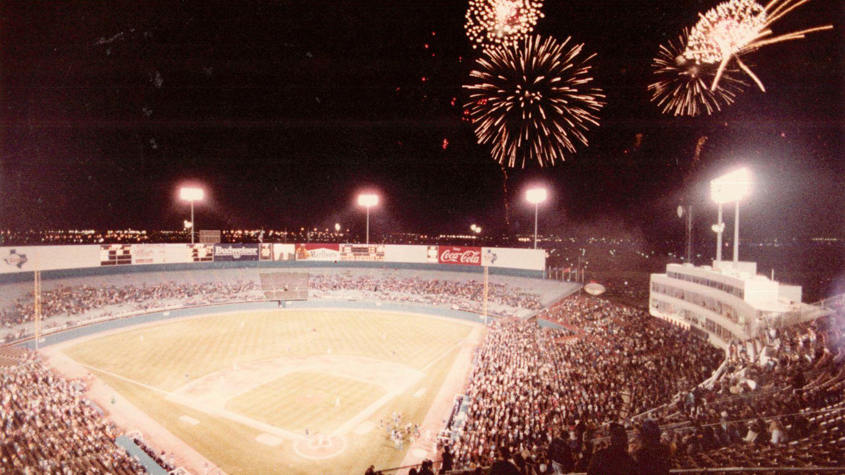 An undated photo of a Rangers opener at Arlington Stadium, originally built as Turnpike Stadium, the team's first home.