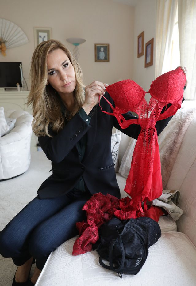 Attorney Tamara Holder displays racy lingerie and a uniform top worn by some of her clients and former employees of Twin Peaks.