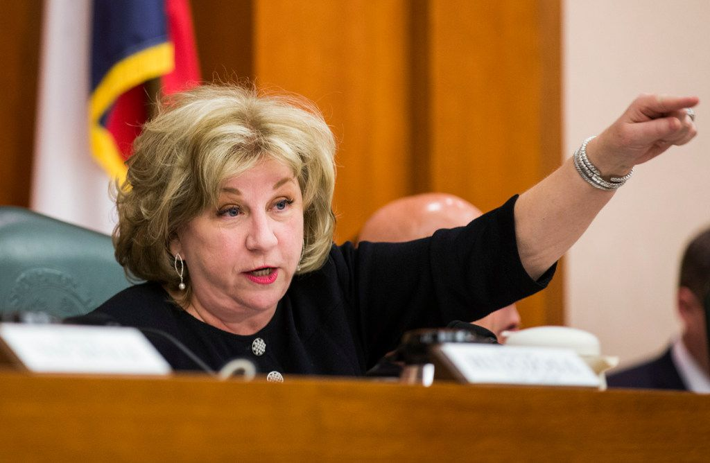 Senator Jane Nelson of Flower Mound discusses SB3, which would give teachers a $5,000 pay raise next year, on Monday, at a senate committee hearing on February 25, 2019 at the Texas state capital extension in Austin. (Ashley Landis/The Dallas Morning News)
