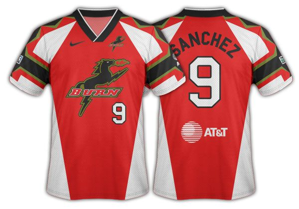 1996 Dallas Burn red jersey with the Burn horse logo primary.