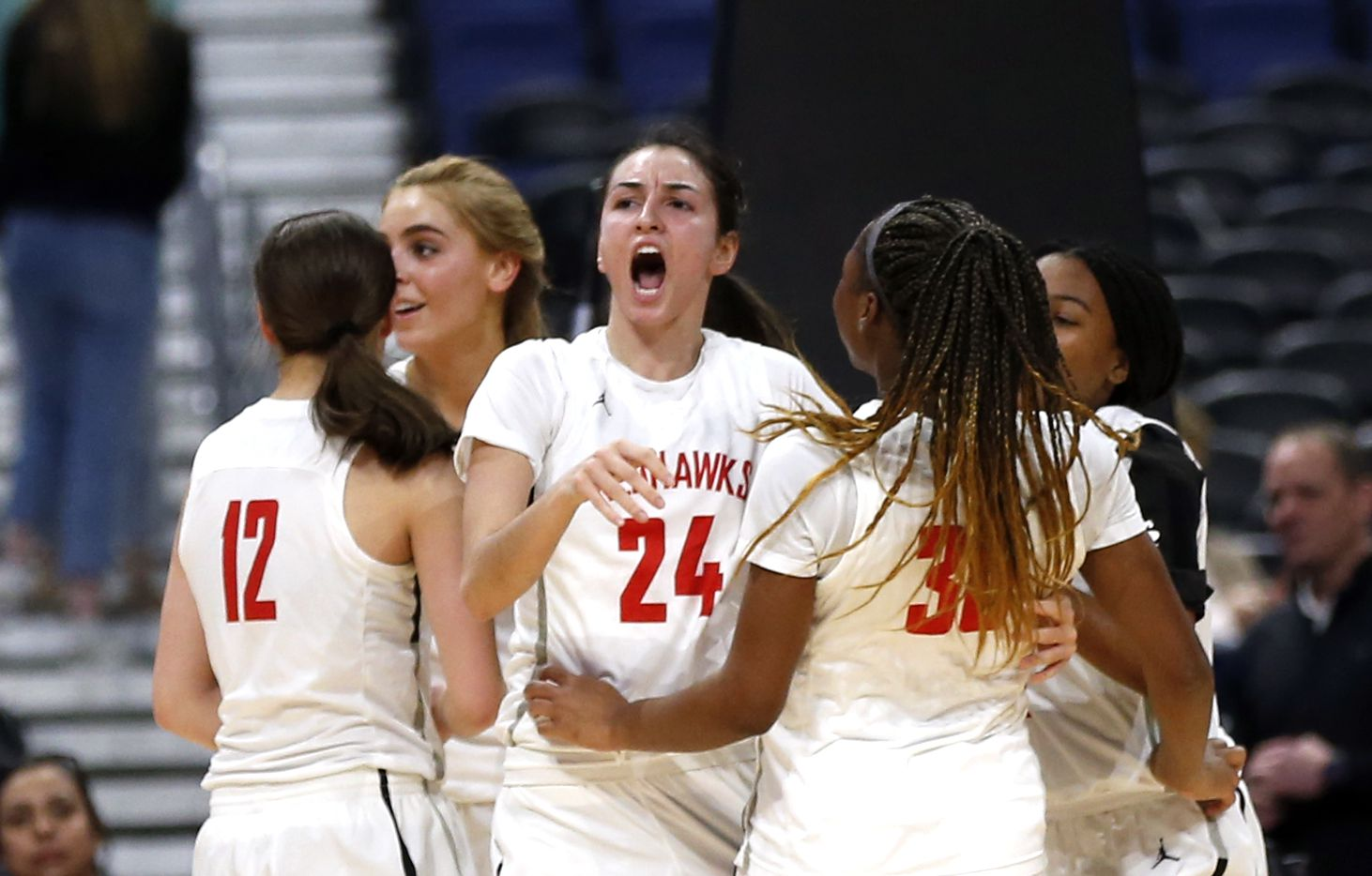 Frisco Liberty guard Maya Jain #24 reacts after causing a turnover against SA Veterans in a 5A final on Saturday, March 7, 2020 at the Alamodome.