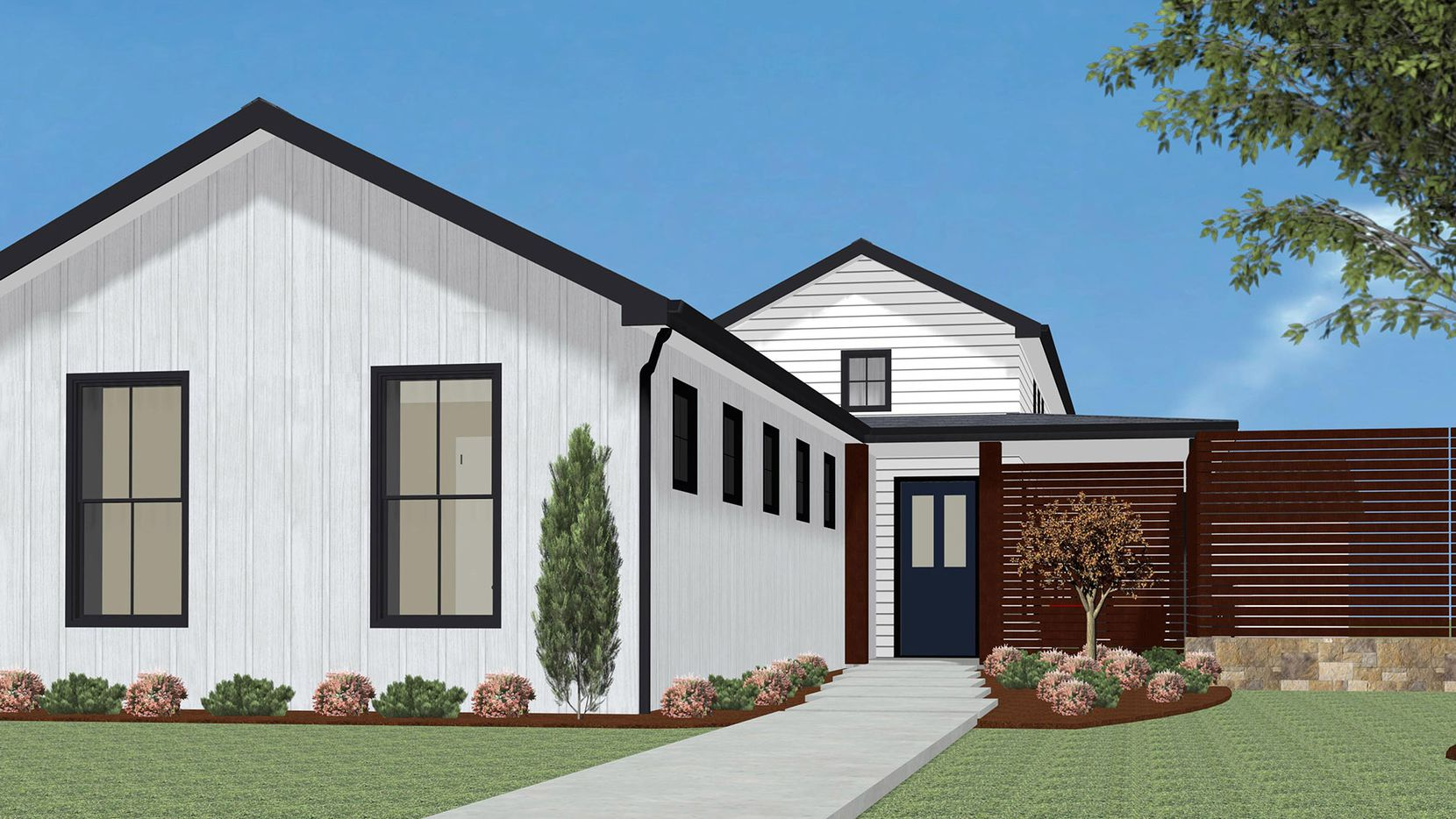 This is an artist's rendering of the Hoffmann Homes design nearing construction at 8824 Diceman Dr., near the Dallas Arboretum.