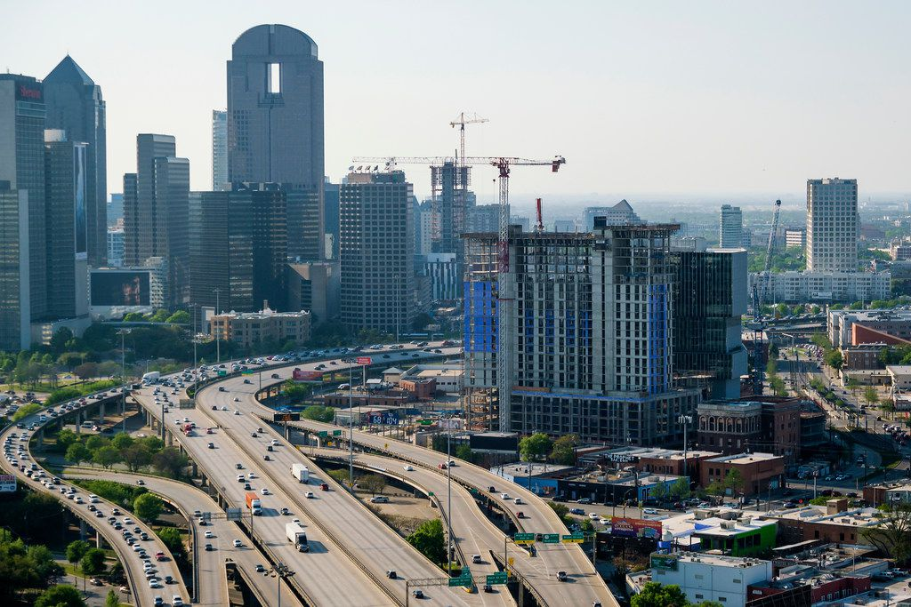 Aerial view of construction on the The Epic and Spur 345 in Deep Ellum.