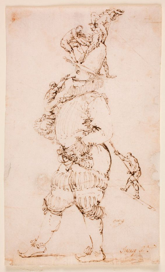 Jusepe de Ribera (Spanish, 1591-1652), A Masked Man with Small Figures Clambering Up his Body, late 1620s. Pen and brown ink on laid paper. Museo Nacional del Prado, Madrid. Inv. D08743.  Between Heaven and Hell: The Drawings of Jusepe de Ribera March 12 – June 11, 2017