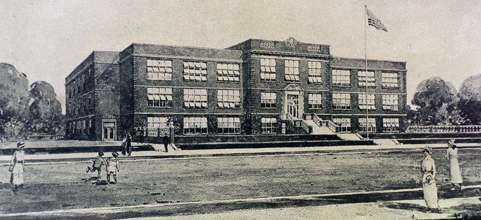 Drawing obtained from DISD vault of the new Oak Cliff High School, now W.H. Adamson High School, in 1916.
