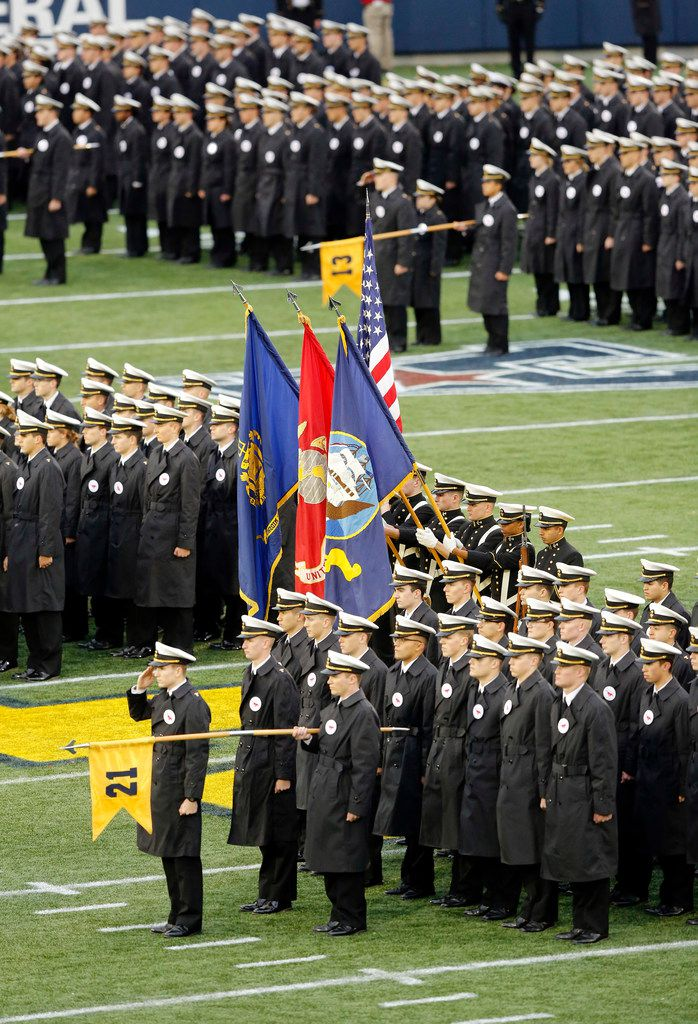 Navy Midshipmen line the field during pregame ceremonies and the national anthem before there team faced the Southern Methodist Mustangs at Navy-Marine Corps Memorial Stadium in Annapolis, Maryland, Saturday, November 23, 2019. (Tom Fox/The Dallas Morning News)