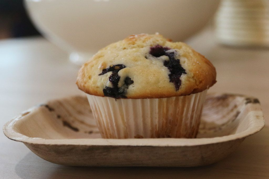 Blueberry muffin, made from scratch, is available in the morning at George Coffee + Provisions in Coppell, Texas. Photographed Thursday July 20, 2017.  (Ron Baselice/ The Dallas Morning News)