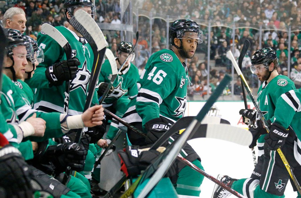 Dallas Stars center Gemel Smith (46) heads to the ice off the bench during the Anaheim Ducks vs. the Dallas Stars NHL hockey game at the American Airlines Center in Dallas on Friday, March 9, 2018. (Louis DeLuca/The Dallas Morning News)