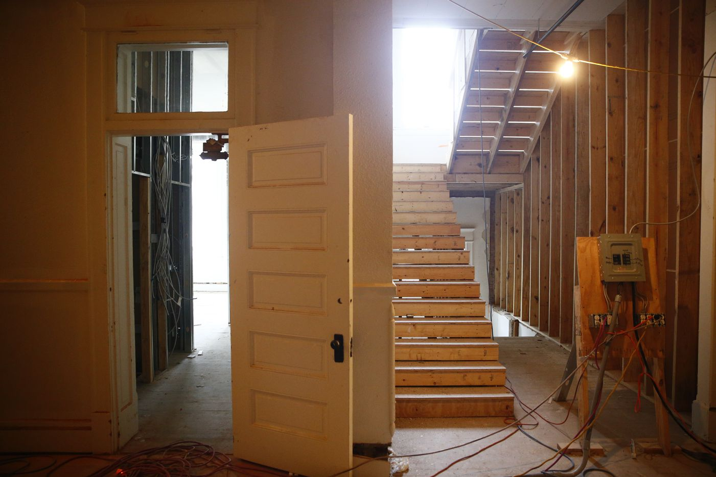 A new staircase in the historic Davy Crockett School, which is being converted into in apartments in Dallas.