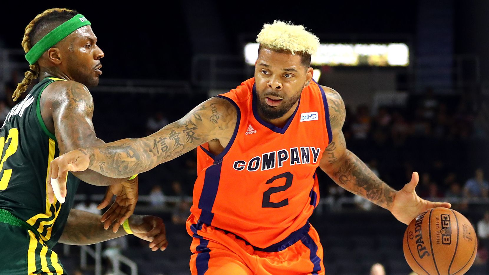 PROVIDENCE, RHODE ISLAND - JULY 13: Andre Emmett #2 of 3's Company handles the ball against the Ball Hogs during week four of the BIG3 three on three basketball league at Dunkin' Donuts Center on July 13, 2019 in Providence, Rhode Island. (Photo by Adam Glanzman/BIG3/Getty Images) ORG XMIT: 775356079