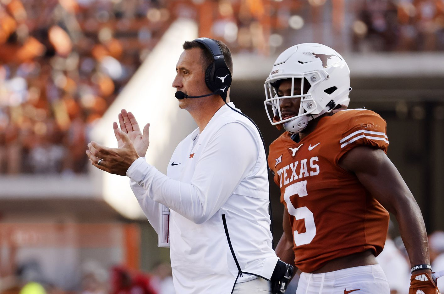 Texas Longhorns head coach Steve Sarkisian applauds his players as they faced the Louisiana-Lafayette Ragin Cajuns during the second half at DKR-Texas Memorial Stadium in Austin, Saturday, September 4, 2021. (Tom Fox/The Dallas Morning News)
