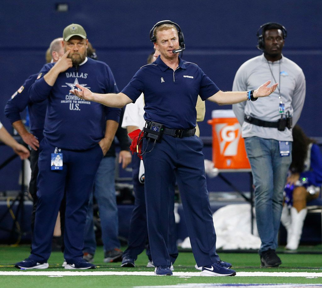 Dallas Cowboys head coach Jason Garrett throws his hands up after a Minnesota Vikings offensive play during the second half of play at AT&T Stadium in Arlington, Texas on Nov. 10, 2019. The Minnesota Vikings defeated the Dallas Cowboys 28-24.